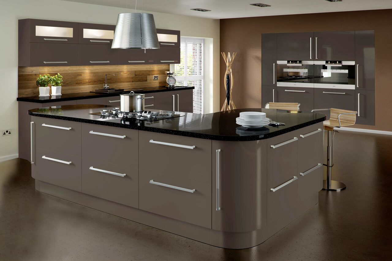 Contemporary Kitchens Terence Ball Kitchens - Dark grey gloss kitchen